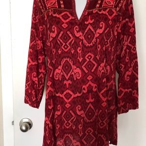 Lucky Brand Multi-Red Embroidered Blouse